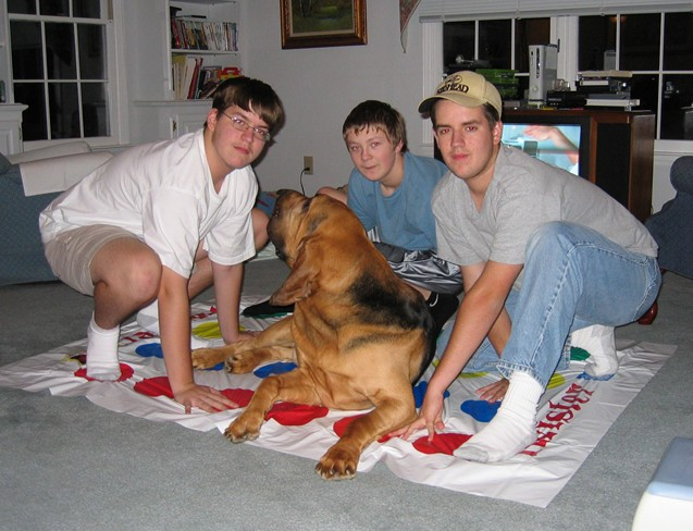 Higgins playing Twister - June 2009